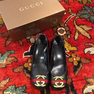 Gucci Black Leather Guam Nero Nylon Heels Logo